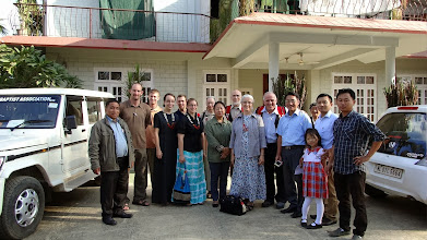 Photo: Upon our teams arrival in Dimapur, Nagaland , India, a dear sister had us all come to her house for honorary gifts and a delicious welcome dinner. She is standing beside my wife Naomi. I will give the names of the full team in another later picture.