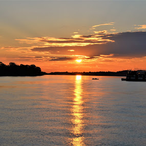Sunset on a Rio Samiria Houseboat, Amazon River, Peru by Sheri Fresonke Harper - Landscapes Sunsets & Sunrises ( peru, rio samiria, houseboat, sunset, amazon,  )