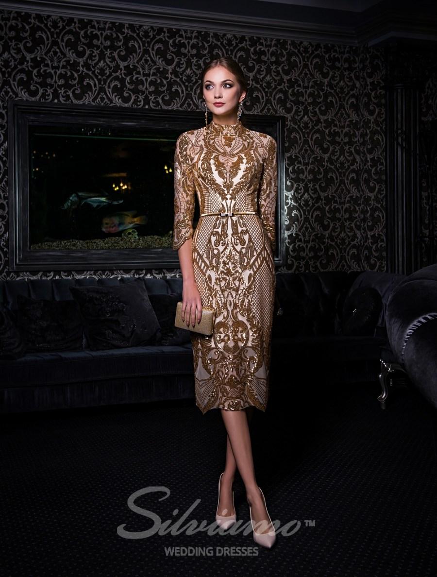 Вечернее платье с рукавом 3/4 оптом от Silviamo