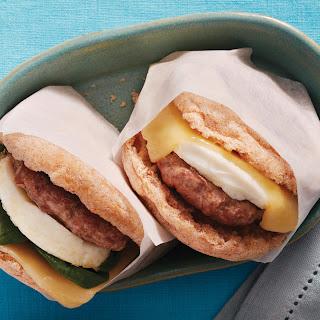 Sausage, Egg & Cheddar Breakfast Sandwiches.