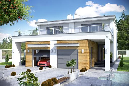 projekt Long z garażem 1-st. bliźniak A-BL1