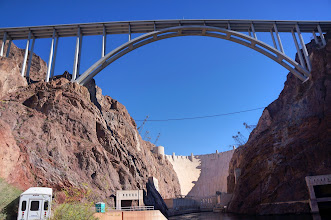 Photo: The Mike O'Callaghan–Pat Tillman Memorial Bridge is an arch bridge that spans the Colorado River between the states of Arizona and Nevada.
