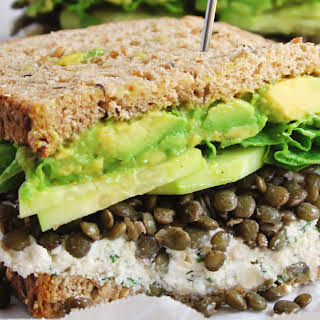 Spring Green Lentil Sandwiches With Walnut Herb Ricotta.