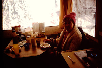 Photo: Lorraine cozy in the camper.