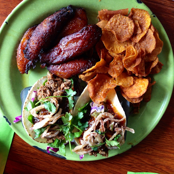 Yum-O! Brisket tacos, sweet potato chips, and fried plaintains.