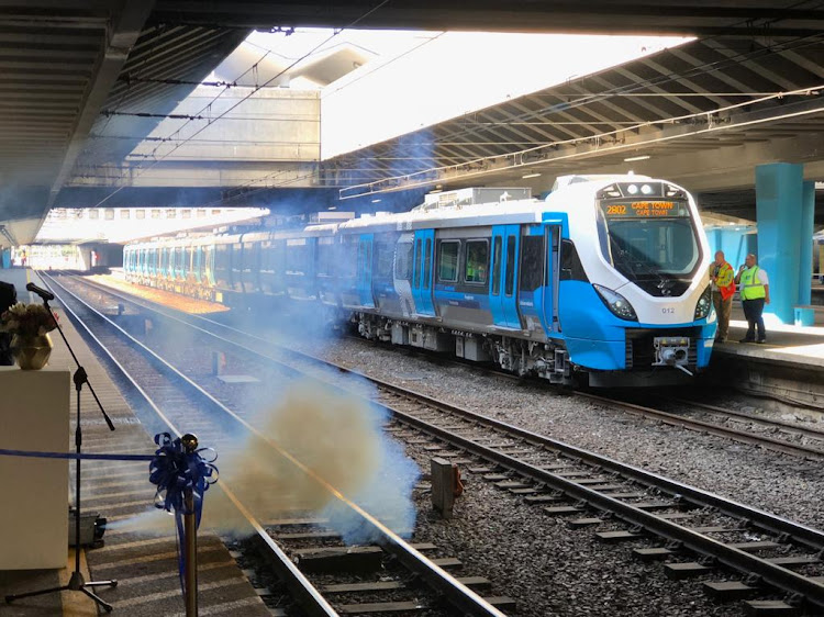 Prasa's new SA-made commuter train at Cape Town station on Tuesday. A factory in Nigel is producing 30 coaches a month.
