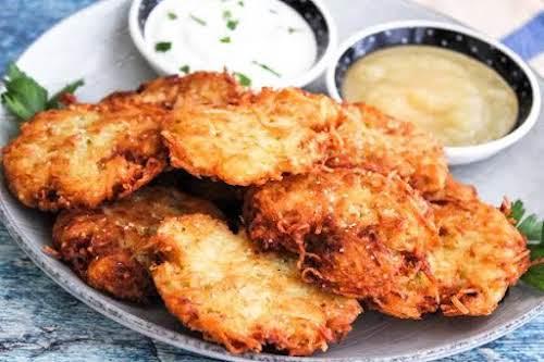 "Penny's Latkes (Potato Pancakes) ""The latkes fry to a perfect golden brown...."
