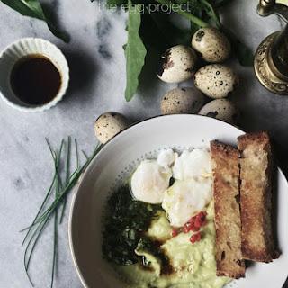 Poached Quail Eggs Over Avocado Yogurt With Arugula And Basil Chimichurri.