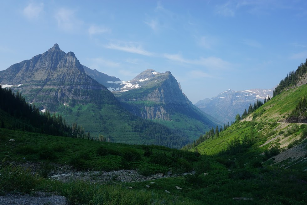 The scenery is quite impressive while cycling up Going to the Sun Road. Pedaling at a snails pace, you really have time to take it all in - Glacier National Park, Montana