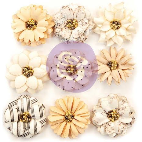 Prima Marketing Pretty Pale Paper Flowers 9/Pkg - Sweet Species UTGÅENDE