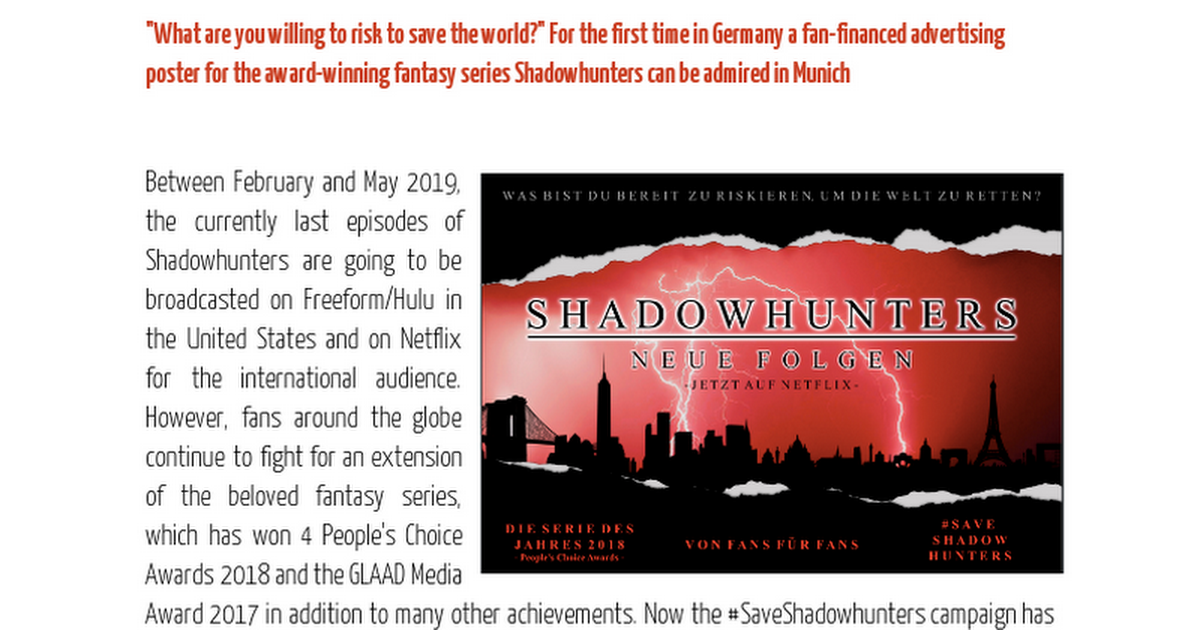 Press Release Shadowhunters Munich - Google Docs