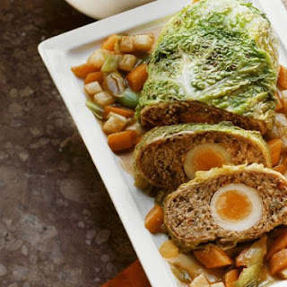 Cabbage Wrapped Meatloaf with Eggs in the Middle