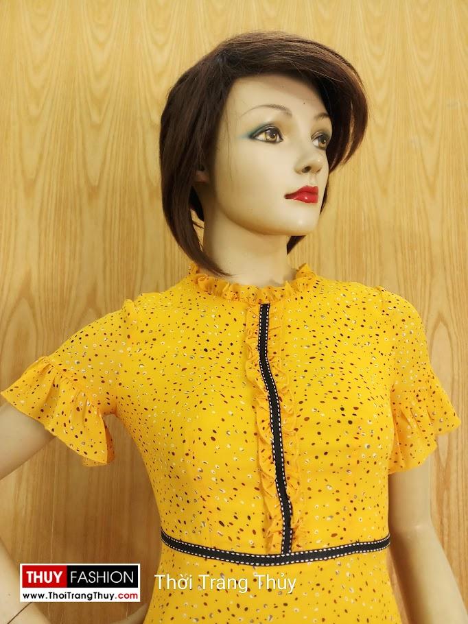 Váy xòe đuôi cá tay loe màu vàng V684 thời trang thủy