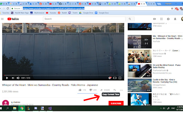 Share Current Youtube Video Time