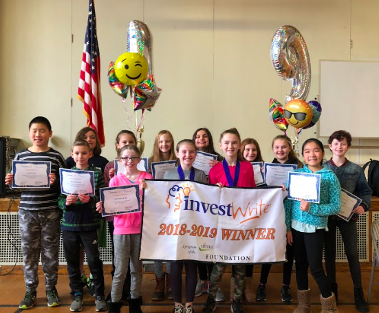 Photo of students who participated in the Invest Write contest