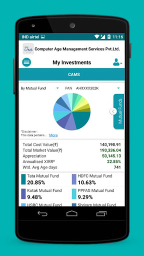 myCAMS Mutual Fund App screenshot