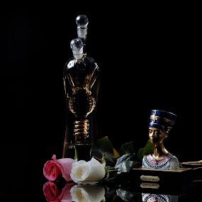 Rose, nefertiti, Bottle by Cristobal Garciaferro Rubio - Artistic Objects Other Objects ( rose, reflection, tequila, nefertiti, leaf, bottle, leaves, pwcmirror-dq, petal )