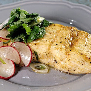 Wood Planked Halibut with Herb Salad