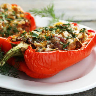 Mexican Inspired Vegetarian Oven Roasted Stuffed Pepper