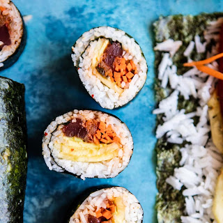 Korean Avocado Tuna Sushi Roll.