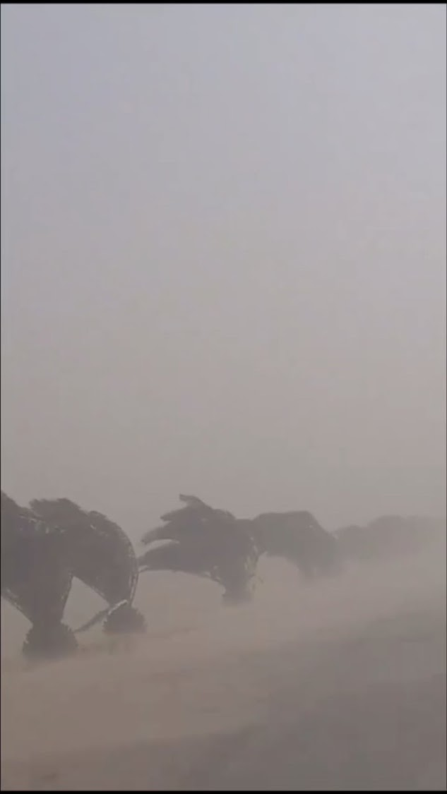 The current weather situation in South Africa was causing winds to blow across the Namib desert in Namibia resulting in sand storms in Walvis Bay.