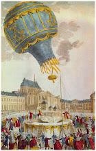 Photo: 4 juin 1783, les premiers passagers sont un coq, un canard et un mouton qui parcourrurent plus de 3 km à une hauteur de 550 mètres ouvrant ainsi la voie aux vols habités...