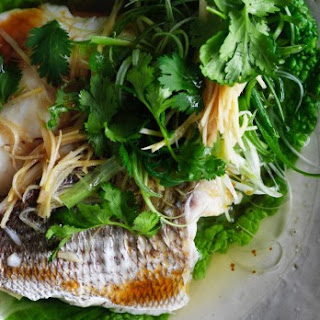 Steamed Snapper Fillets With Ginger And Shallots.