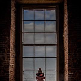 Gioking through window by Aamir DreamPix - Babies & Children Children Candids ( uk, northen ireland, temple, window, girl )