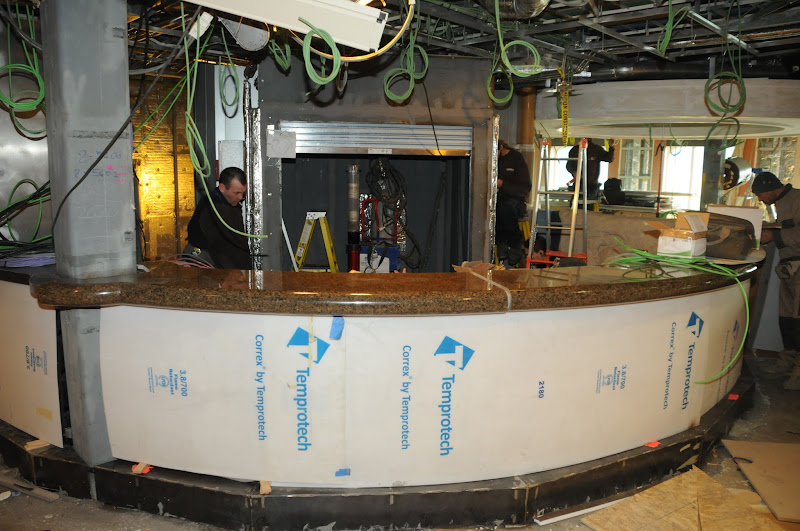 Photo: Sapphire Princess Drydock Update -- January 17: Counters have new been installed for the new Vines Wine Bar in the Piazza.
