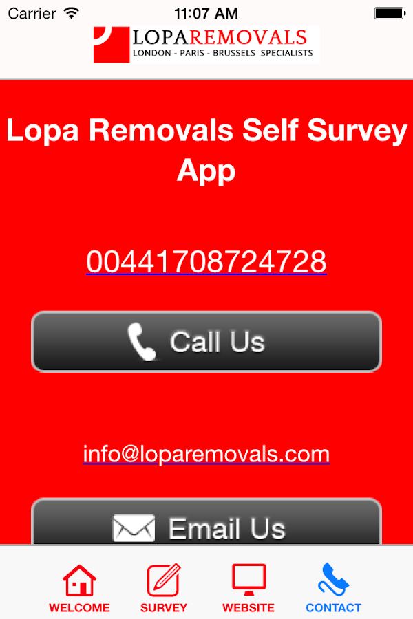 Lopa Removals Self Survey App- screenshot