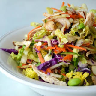 Roasted Tomatillo-Garlic Salsa and Chopped Chinese Chicken Salad with Sesame Vinaigrette.