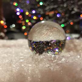 Multi-coloured by Melissa Poling - Artistic Objects Glass ( abstract, lensball, winter, coloured lights, photography,  )