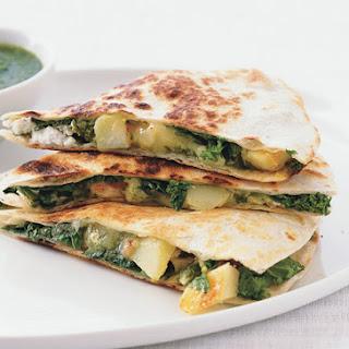Potato, Greens, and Goat Cheese Quesadillas