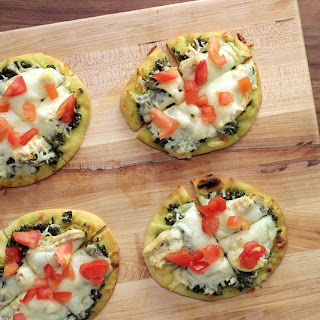 Chicken & Pesto Naan Pizzas.