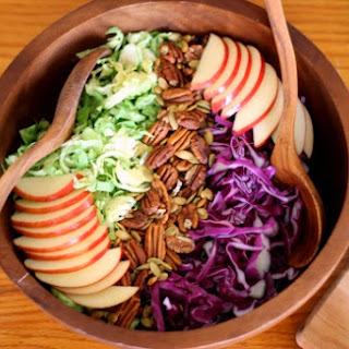 Brussels Slaw Salad with Creamy Maple Tahini Dressing.