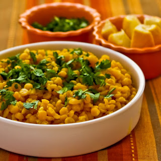 Lemony Yellow Split Pea Side Dish with Garlic and Ginger (with or without Cilantro)