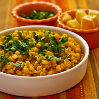 Lemony Yellow Split Pea Side Dish with Garlic and Ginger (with or without Cilantro).