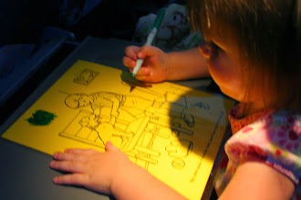 Photo: Another of Kaylee's brilliant ideas: laminated coloring pages and dry-erase markers