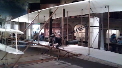 Photo: Smithsonian Air and Space Museum. The actual Wright Brothers Flyer. #1. The plane that made the first flight.