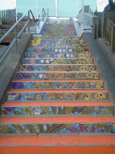 Photo: Top three flights of steps on the Hidden Garden Steps (16th Avenue, between Kirkham and Lawton streets in San Francisco's Inner Sunset District), installed on October 29, 2013. KZ Tile workers finished installing more than 36 pieces of the 148-step ceramic-tile mosaic designed and created by project artists Aileen Barr and Colette Crutcher. For more information about this volunteer-driven community-based project supported by the San Francisco Parks Alliance, the San Francisco Department of Public Works Street Parks Program, and hundreds of individual donors, please visit our website at http://hiddengardensteps.org.