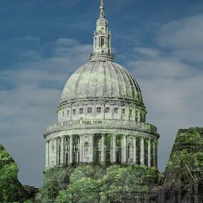 St.Paul's, London, UK by Svetoslava Todorova - Digital Art Places ( double exposure, uk, nature, london, blue, green, white, buildings, historical )
