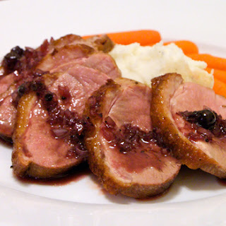 Seared Duck Breast with Blackcurrant Compote (Adapted from Bob Blumer, Surreal gourmet)