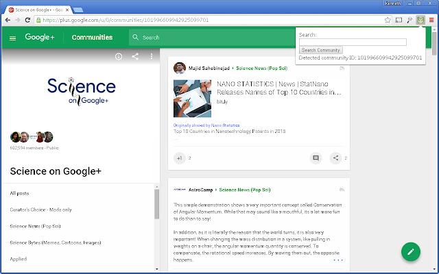 Google plus Community search
