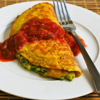 Recipe for Southwestern Omelet with Easy Guacamole and Salsa