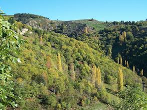 Photo: Paysage d'automne sur versant Sud. A gauche en haut : hameau de Chapelèche.
