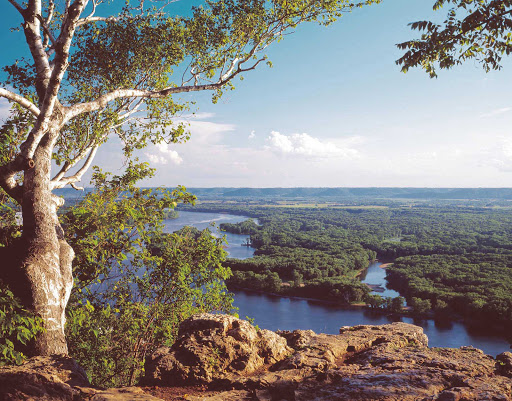 Alma-Wisconsin-Wide-River-with-Trees.jpg - Nature lovers will enjoy viewing the natural landscapes of the upper Mississippi River, including Alma, Wis.