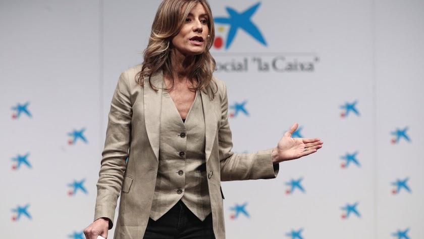 Begoña Gómez, durante un acto organizado por La Caixa.