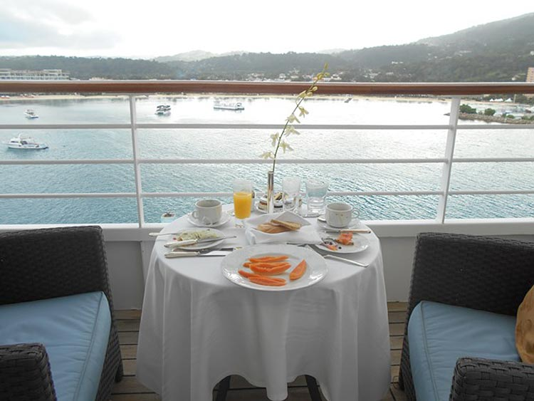 Breakfast is served on our veranda after Crystal Serenity's arrival in Ocho Rios, Jamaica.
