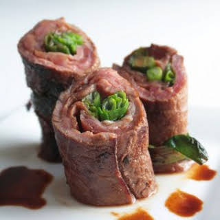 Beef Negimaki (Steak & Scallion Rolls).