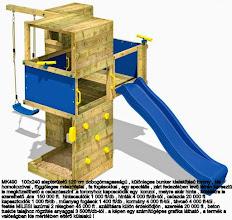 Photo: MK490 100x240 alapterületű 120 cm dobogómagasságú , különleges bunker kialakítású torony , kis homokozóval , függőleges mászófallal , fa fogásokkal , egy speciális , zárt fedezékben levő létrán keresztül is megközelíthető a csúszdaszint . a toronyhoz kapcsolódik egy  konzol , melyre akár hinta , kötéllétra is szerelhető .  ára  150 000 ft.  hintacsuklók 1 000 ft/db , hinták 4 000 ft/db-tól , csúszda 20 000 ft  kapaszkodók 1 000 ft/db . műanyag fogások 1 400 ft/db , kormány 4 000 ft-tól , távcső 4 000 ft-tól .festés MILESI lazúrral 2 rétegben 45 000 ft . szállításra külön érdeklődjön , szerelés 20 000 ft , beton tuskós talajhoz rögzítés anyaggal 3 500ft/db-tól . a képen egy számítógépes grafika látható , a termék a valóságban kis mértékben eltérő külalakú !